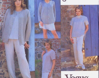 90s Womens Separates Jacket, Dress, Top, Skirt & Pants Vogue Sewing Pattern 1545 Size 12 14 16 Bust 34 36 38 UnCut Go Silk