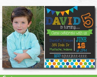"Personalized Colorful ""Rainbow Chalkboard"" Boys Birthday Party Digital Printable 4""x6"" or 5""x7"" Invitation"