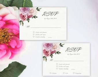 Rustic Wedding RSVP Template, Wedding Response Card, Vintage Watercolor Floral card, DIY Instant Download
