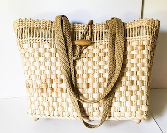 Straw handbag - Lined straw bag - Boho straw purse - Woven straw handbag - Top handle straw tote - Straw tote bag