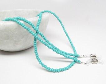 Turquoise Beaded Glasses Chain; reading glasses cord; eyeglasses chain; glasses leash; glasses holder; sunglasses holder; glasses lanyard