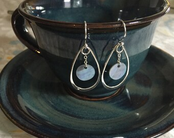 Sterling Silver Blue Capiz Shell Earrings with Teardrop Accent