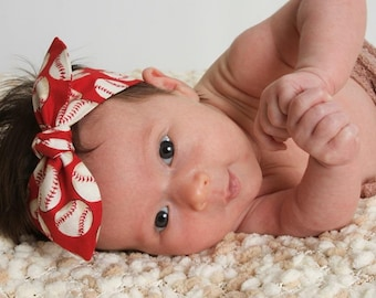 "Baseball Baby Headband, baby girl headband, red,""Cinci"", baby girl, knot headband, baby bow headband,baseball accessories.Toddler/Girl/Adult"