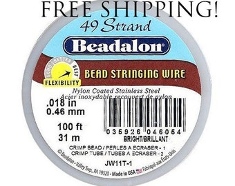 Beadalon 49 Strand Beading Wire .018 30ft & 100ft Spools - Free Shipping - Beading String Tiger tail Beadalon 49 18 30 100 - Beading Wire