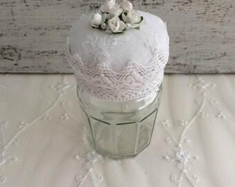 Storage jar - retro romantic Pincushion: lace and paper flowers