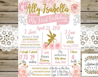 Floral FAIRY BIRTHDAY CHALKBOARD, Fairy Dust, Gold Fairy, Watercolor Flowers, Pink & Gold, 1st First Birthday Chalkboard, Birthday Poster
