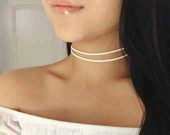 Suede Double Choker, Thin Suede Choker, Thin Double Choker, Double Choker, Double Ribbon Choker, 90s, Minimal, Simple, Suede
