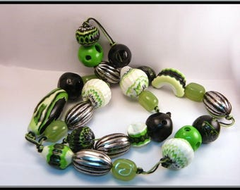 Necklace beads green circus black and white polymer clay.