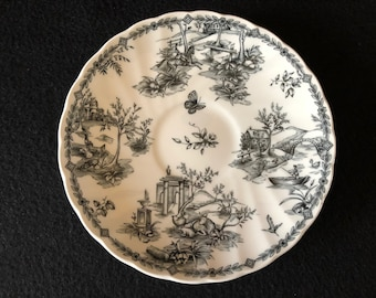 Churchill Black Toile Scalloped/Charcoal Saucer (Made in England)