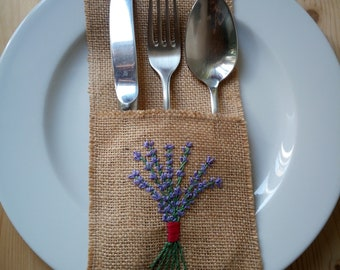Jute cutlery with embroidery Burlap silverware holders for rustic wedding cutlery pocket-6pcs