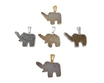 Druzy Elephant Pendant with Electroplated 24k Gold or Silver Edge (S120B7)