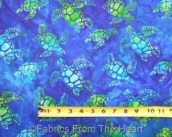 Sea Turtles Ocean Totally Tropical Batik Blues BY YARDS Robert Kaufman Fabric