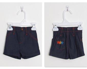 Baby Girl's Health-tex Shorts / Dark Blue Denim w/ Embroidered Stars / Vintage Children's Jean Shorts / Size 9 months