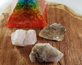 Beginner's Crystal Set: Rose Quartz, Amethyst, Smoky Quartz! ~Witch, Mystic, Crystal Grid