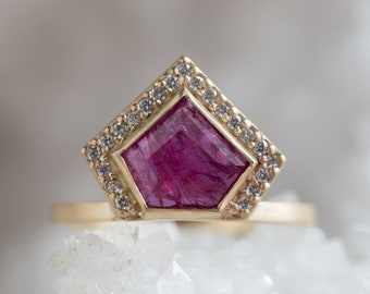 One of a Kind Geometric Rose Cut Ruby Ring with Pave Diamond Halo