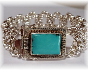 Chain Maille Turquoise Clasp Bracelet