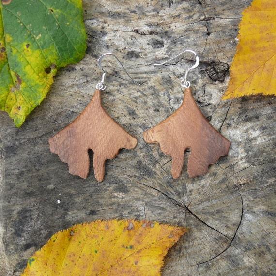 Earthy Earrings, Natural wood earrings, Ginkgo leaf Earrings, Sterling silver leaf earrings, Boho Jewelry, Nature Lover Gift, Gift for wife