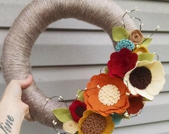 Fall wreath, yarn wreath, wildflower wreath, year round wreath, wool felt flower wreath,autumn wreath,home decor,wedding gift, wedding decor