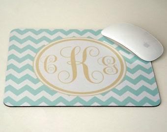 Gold, Blue Mint Chevron Monogram Mousepad, Gold Mouse Pad, Monogrammed Mouse Pad, Administrative Professionals Day Gift, Assistant Gifts