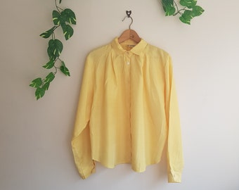 Vintage Parisienne yellow gold striped sheer oversize blouse UK 16 L
