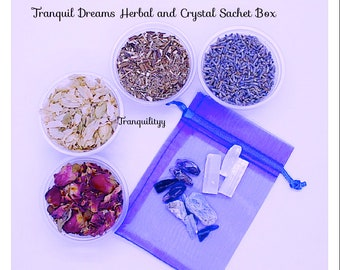 Dream Pillow Sachet Crystal  Herb Box ,  Organic Lavender , Rose Petals, Hops, Mugwort, Sleep Crystals  By: Tranquilityy