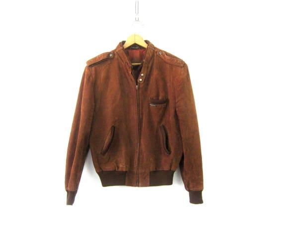 Brown Vintage Member's Only Bomber Coat Slouchy Leather Coat 90s Revival Preppy Bomber Jacket Coat Men's Size 44
