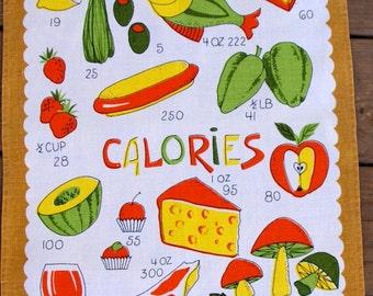1960s vintage Linen Calories tea towel