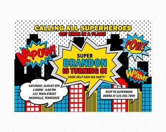 Superhero Invitation, Superhero Birthday Party Invitation, Superheroes, Comic Birthday Party, Boy, Printable or Printed Invitations