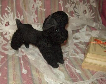 lovely old, small dog, black poodle plush