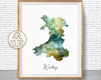 Wales Map Art Wales Print Watercolor Map Map Painting Map Artwork  Office Decorations Country Map ArtPrintZone