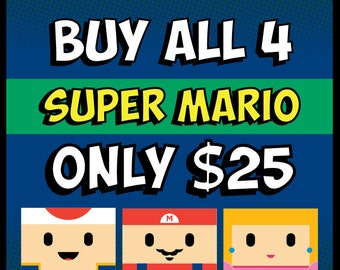 Nintendo Super Mario Bros Posters, Nintendo Mario Nursery, Video Game Nursery Decor, Video Game Gift Art Poster, Luigi, Princess Peach, Toad