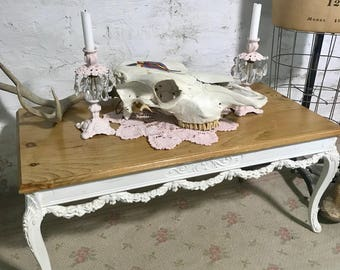 Painted Cottage Prairie Chic Vintage Hand Painted Coffee Table
