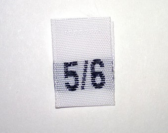 Size 5/6 (Five-Six) Woven Clothing Size Tags (Package of 1000)