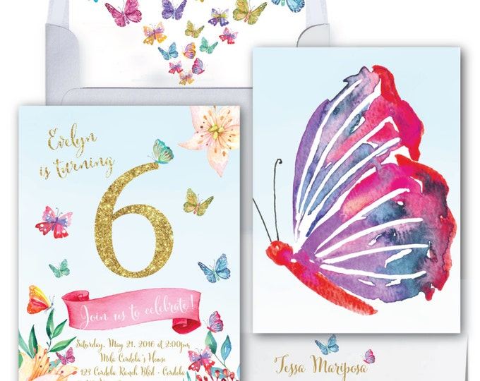 Butterfly Birthday Invitation// Butterflies // Gold Glitter // Watercolor // Flowers // 2nd // 3rd // 4th // 5th // 6th// CORDOBA COLLECTION