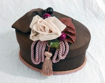 Marcela Trinket Box, Padded Top, Satin Lined - Vintage