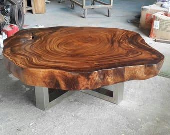 Live Edge Coffee Table Reclaimed Acacia Wood Solid Slab Rare