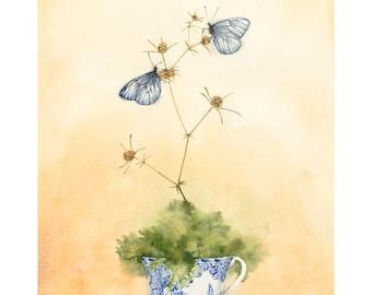Fine Art Giclée Print butterflies A4 21 x 30 cm of my watercolor illustration