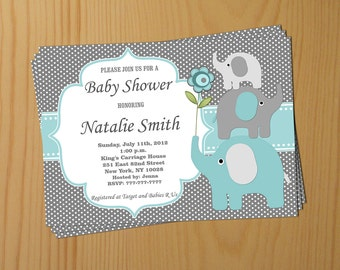 Boy Baby Shower Invitation Elephant Baby Shower Invitation Baby Boy Shower Invitation Baby Shower Invite (57taf) - Free Thank You Card