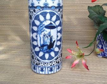 Chinoiserie Vase, Blue & White Ginger Jar Chinese Vase, Glass Vase for Wedding Centerpiece, Toile Flower Vase, Birthday, Mother's Day Gift