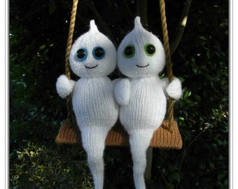 Swinging together forever ghosties cute Halloween ghosts :  Pattern only IMMEDIATE DOWNLOAD