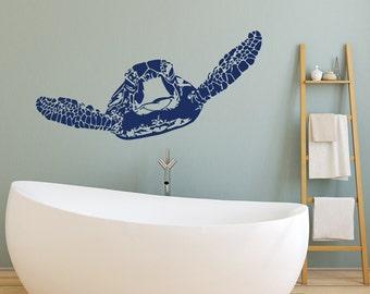 Sea Turtle Decal Marine Decor- Turtle Wall Decal Ocean Decor- Turtle Wall Decal Nautical Ocean Bathroom Bedroom Wall Art Home Decor #72