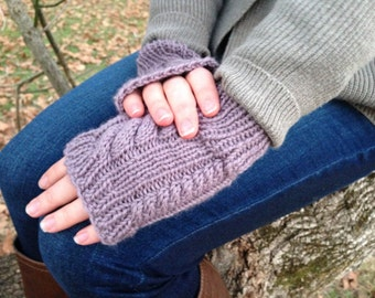 Womens Gloves - Fingerless Gloves - Womens Knitted Gloves - Cable Knit Wool Gloves - Seraphim Purple Gloves || DOUBLE CABLE GLOVES