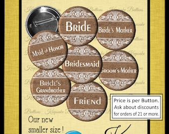 "Burlap and Lace Image Shower Buttons, 1.25"" Custom Wedding Shower Pins, Bachelorette Party, Country Wedding Pins, Hens Party,"