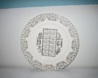 Vintage 1964 50 Year Old Calendar Plate Creamware Gold Birthday Retro
