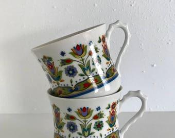 Cute colorful mugs - set of 2 - Hellespont by Sango - floral - vintage mugs