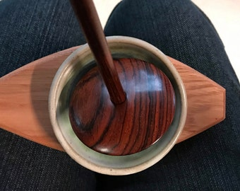 Supported Spindle Base -  Cherry Wood- the Even Keel, Spinning, Support, Fiber
