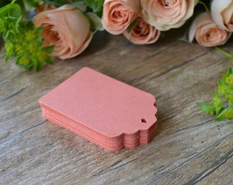 coral hang tags, coral scalloped hang tags, coral pink favor tags, coral bridal shower tags, coral gift tags, coral price tags- 30 tags