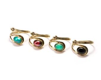 Adjustable Gemstone Rings Brass, Black Onyx (B1) Handmade, Boho Rings, Tribal Jewellery Gift Boxed + Gift Bag , Free UK Delivery