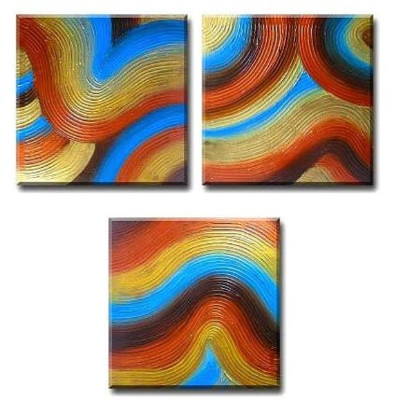 Spa art, REJUVENATION ZEN GARDEN triptych pop abstract landscape contemporary Asian art