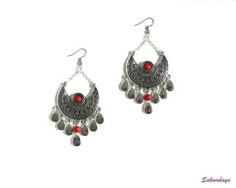 Earrings, half moon, red, turquoise, drop, candlestick, ethnic, bohemian, tribal